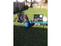 Camping bundle includes 5 berth tent and double burner gas stove/grill