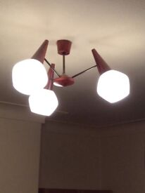 Light fitting ..cone shape . Wooden ends