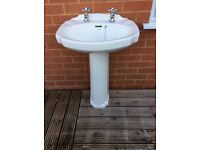 Bathroom pedestal sink, 'Cottage', in use up to today, taps included