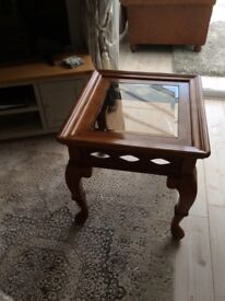 Hated wood square lamp table