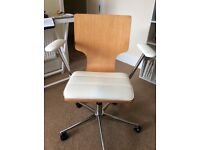 Office chair, leather and wood