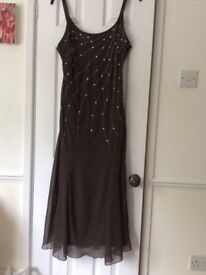 Brown evening dress with crystal decorations