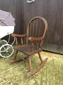 Lovely wooden oak child's rocking chair