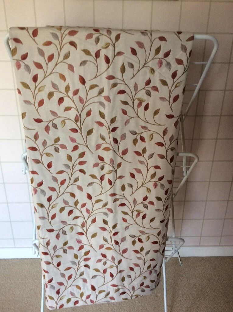 Flg Dunelm Fully Lined Woven Red Brown Leaf Design Pencil Pleat Curtains