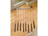 Golf equipment, used left handed set of irons , driver, rescue club, trolley bag and trolly