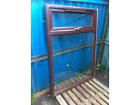 Upvc mahogany double glazed window units, choice of two