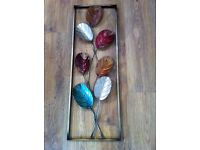 Painted Metal Leaf Wall Art Picture Frame