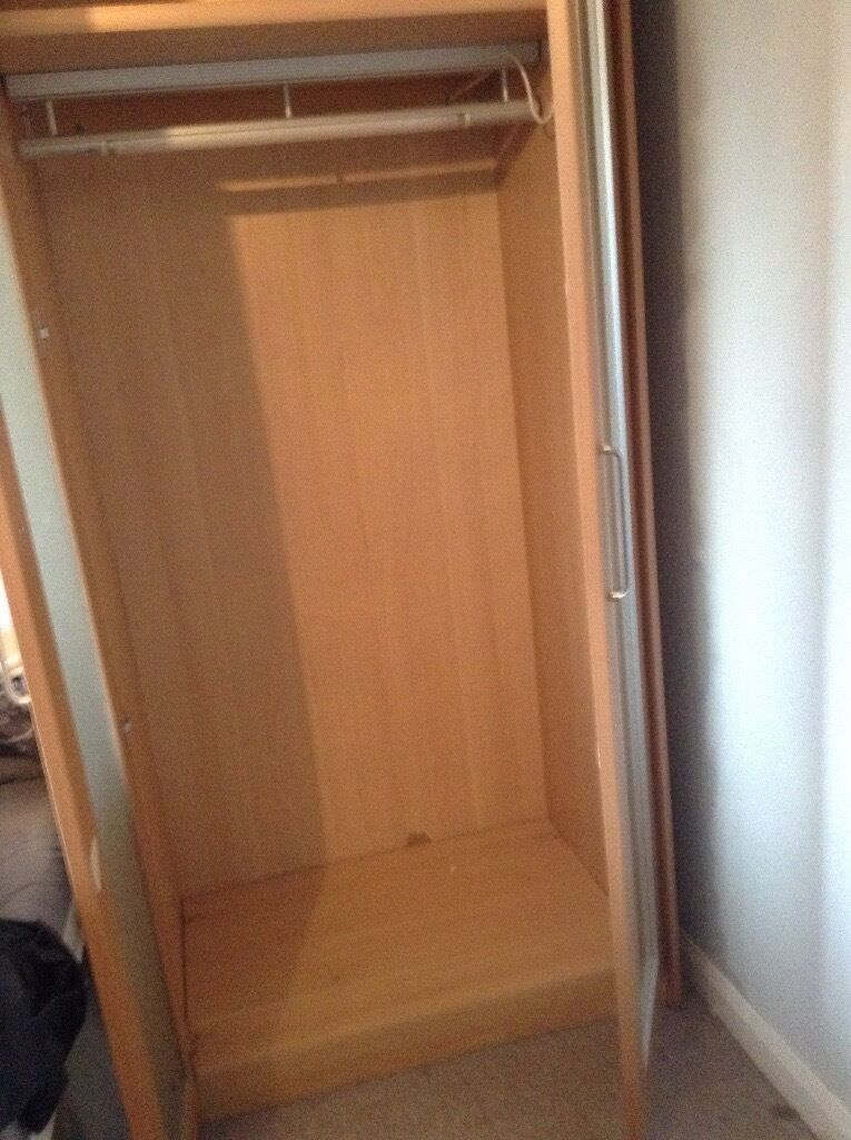 Good Condition Schreiber Beech Wardrobe With Glass Doors And