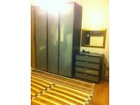 IKEA massive brown wardrobe and 4 chest of drawers