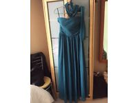 Size 12(M) long length teal evening/prom dress. Strapless.