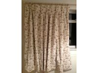 5ft Drop Curtain Set - Black Out Curtains / Floral Leaf Design Curtains / Purple and Green Curtains