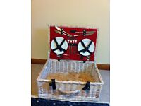 picnic hamper with cutlery and crockery set