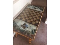 Very Unusual Cane and Feather Chess Board Coffee Table Birds