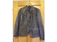 Soft Italian grey leather designer jacket