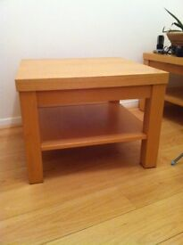TWO LIGHT BEECH SOLID WOOD SIDE TABLES EX ARCHIBALDS