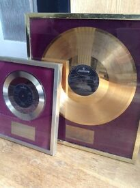 GOLD/SILVER VINTAGE DISC AWARD ROD STEWART/MICKEY WALLER 1972 NEVER A DULL MOMENT/ANGEL 100% REAL