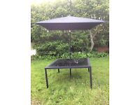 Large Black Garden Table and Black Parasol