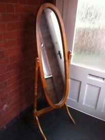 Large Vintage Bedroom Dressing Swivel Oval Wooden Ornate Boudoir Mirror