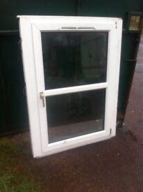 White upvc double glazed window unit