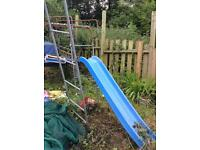 Climbing frames and slide pieces.