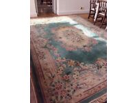 Beautiful quality Chinese/oriental rug in colours of soft green/pink / beige. Floral design