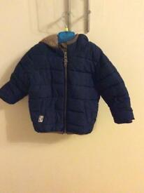Next boys navy padded fleece lined coat age 12-18 months