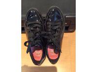 Fit Flop black patent lace up shoes