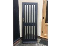 """Hardwood external door 6'6"""" x 2'6"""" inc obscure glass and fittings"""