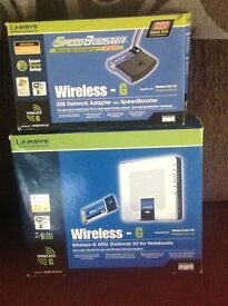 Wireless-g asdl gateway kit for notebooks and usb network adapted.