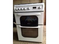 Hotpoint Gas double oven with grill and 4 hob burner