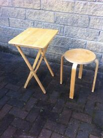 Small pine foldaway table and matching stool