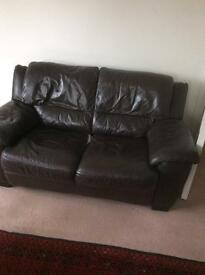 Brown leather 2 seater and single arm chair