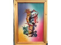 Silk paintings on custom pine frames