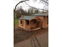 "Children's single storey wooden playhouse 8ft x 9ft6"" , ex bury Xmas fayre show model"