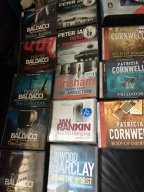 Collection of audio books on cd and tape to include John Grisham David Baldacci etc