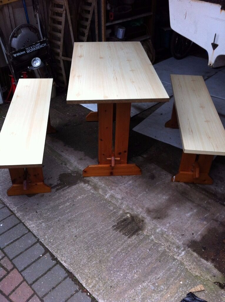 Pine Kitchen Table and benchesin Rishton, LancashireGumtree - Pine Kitchen Table and two benches The bases are pine the tops are laminate pine effect which is great If you have kids as it can be easily wiped . £40 including local delivery. Anyone interested can contact me on 07454545545. Thanks