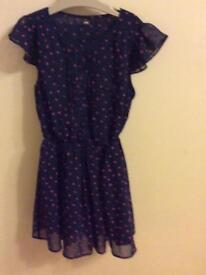 Marks & Spencer girls navy tunic dress age 9-10 years
