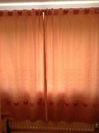 NEXT fully lined pink bedroom curtains W72 X L54, with matching single duvet cover & pillowcase