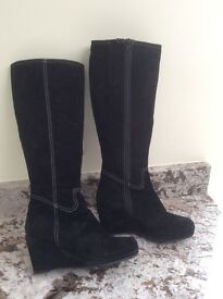 Clarks Black Suede Knee Length Boots - size 5 1/2
