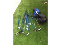 Various types of junior golf clubs