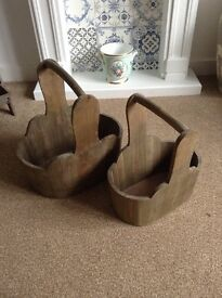 set of two grey vintage shabby chic basket crate or planter box