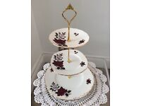 Colclough Bone China Red and White Floral 3 Tier Cake Stand