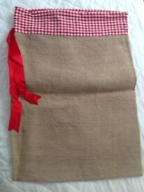 Hessian Christmas sack gingham lined