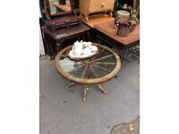 Original Ship Steering Wheel glass coffee table