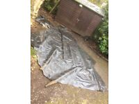 Large piece (about 6mx3m) of irregular shaped Firestone pond liner. Excellent condition