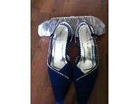 Size 3 Blue Glitz Evening Shoes with Bag