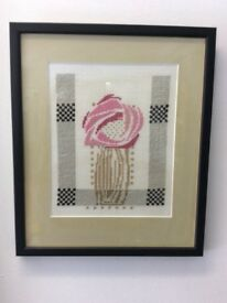 Three MacIntosh style framed Roses