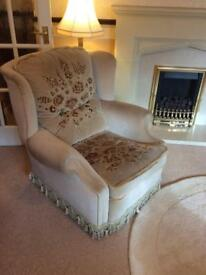 Three piece reproduction suite with matching footstool