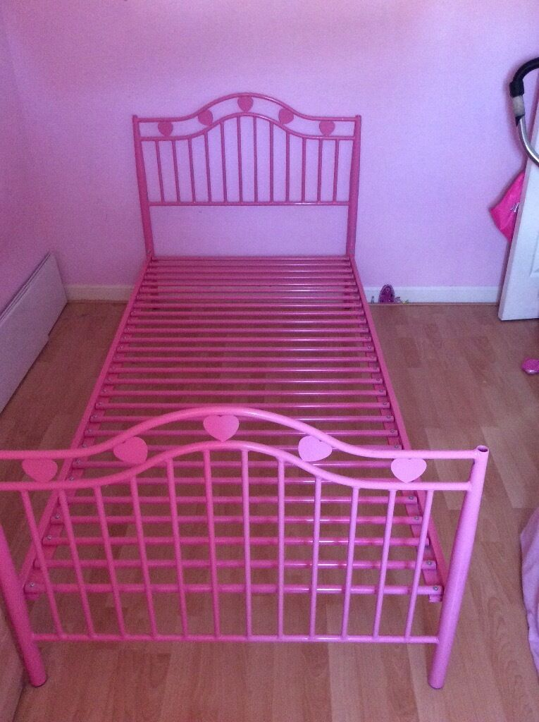 Single 4 Poster Bed Part - 38: Single Bed Frame Girls Pink Heart Design £30 Can Be 4 Poster Option