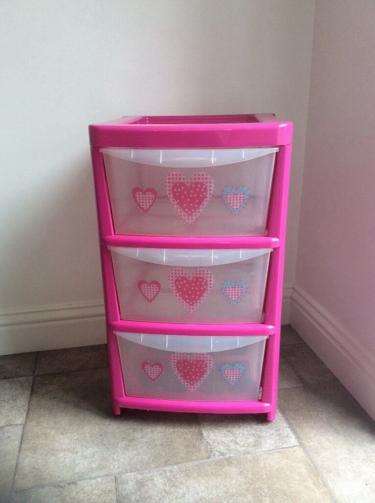 3 Drawer Pink Storage Unit & 3 Drawer Pink Storage Unit | in Kingsnorth Kent | Gumtree